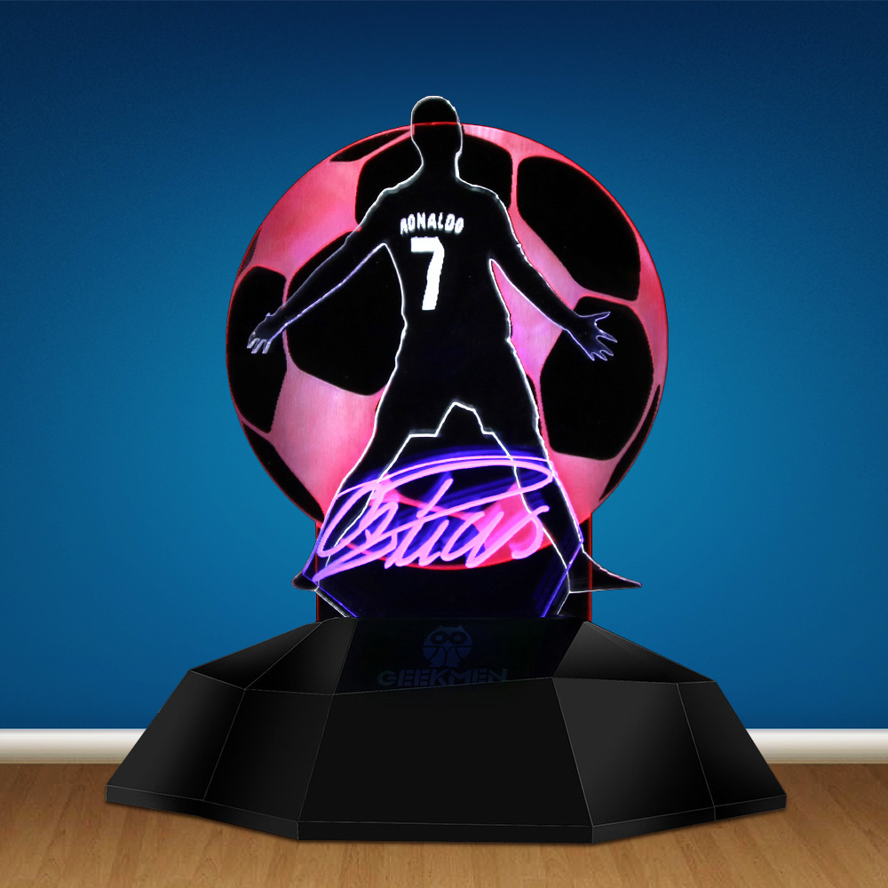 CR7 Cristiano Ronaldo Portugal Soccer Player 3D Line Lamp Football Player C Ronaldo 3D Optical Illusion Light LED Table Lamp