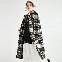 Wool Cashmere Women Coats Black White Plaid Long Fashion Women Blend Coats