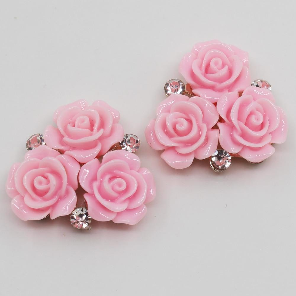 Новый 10 шт. 28 мм овальные розовые смолы розы Кнопка золотистого металла свадебные Невеста, холдинг цветы украшают аксессуары для волос Скрапбукинг