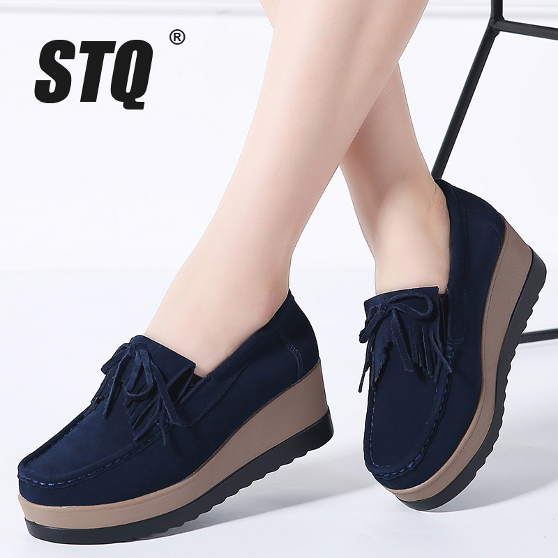 Image 5 - STQ 2020 Autumn Women Flats Women Leather Suede Fringe Platform Sneakers Thick Heel Casual Boat Shoes Ladies Loafers Shoes 912ladies loafers shoesboat shoesboat shoes ladies -