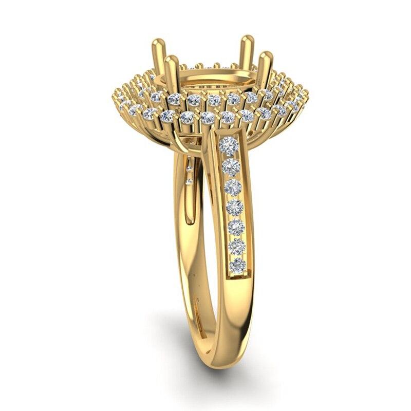 Кольцо Маунт Semi 14kt желтого золота 7x9 мм овальный бриллиант Обручение настройки для Anniverary