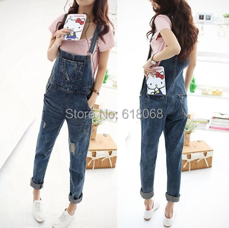 2015 New Fashion Summer Women's Loose Denim Overalls Korean Style Cowboy Straps Trousers Harem Pants Holes Denim Overalls S~XL