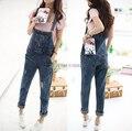 2016 Nova Moda Verão das Mulheres Calças Harem Pants calças Soltas Macacão Jeans Estilo Coreano Cowboy Cintas Buracos Denim Macacão S ~ XL