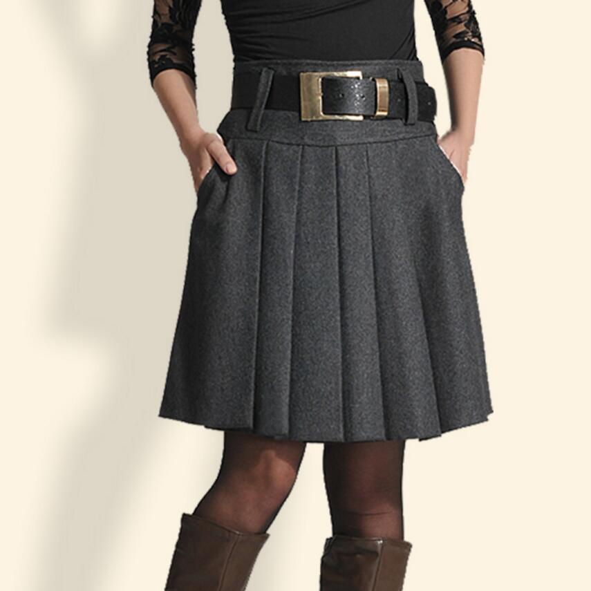 9323c8ad76d2e 2018 Autumn Winter Women Skirt High Waist Pleated Skirt Ladies Fashion Plus  Size Casual Skirt Woolen
