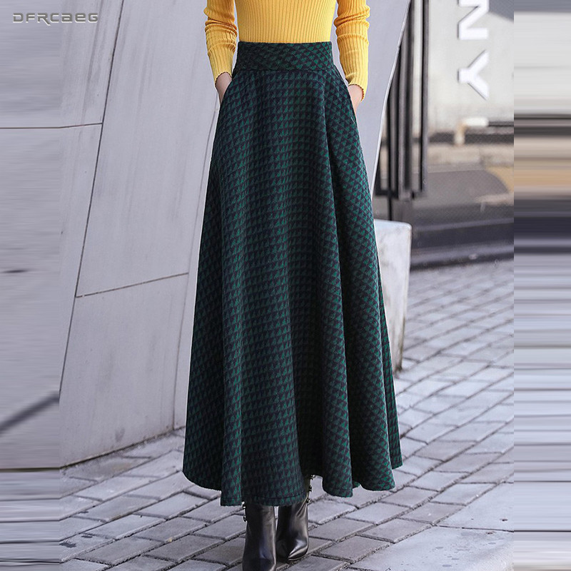 Winter Verdicken Frauen Woolen Maxi Röcke 2018 Mode Hohe Taille Plaid Wolle  Plissee Rock Weibliche Casual Vintage Damen Saia Longa 8167db8378