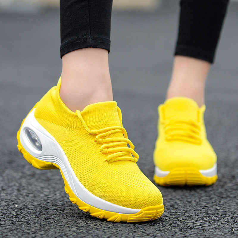 Cushioning Women Sock Sneakers Breathable Mesh Yellow Running Shoes Height Increasing Wedge Sports Shoes Thick Sole Platform 42