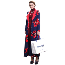 Muslim Clothing Islamic Coat Floral Print Maxi Trench Coats Plus Size Long Sleeve Turn Down Collar