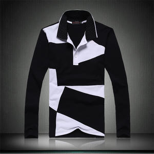 2019 Men's Fashion Boutique Cotton Splicing Leisure Long-sleeved T-shirts  Men Large Size Casual Lapel Long Sleeve T-shirts