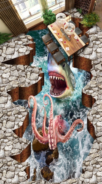 [Self-Adhesive] 3D Octopus Shark Ocean 8 Non-slip Waterproof Photo Self-Adhesive Floor Mural Sticker WallPaper Murals Wall Print