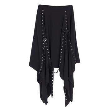 Black Long Gothic Skirt Women Asymmetric Chain High-Waist Loose Punk Style