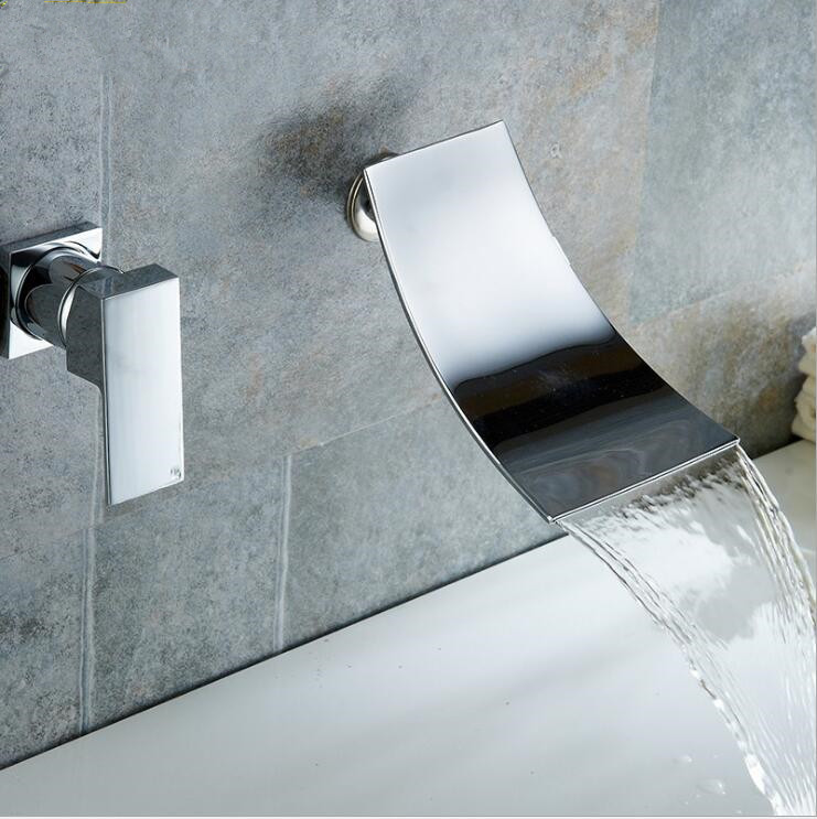 Modern Concealed Bathroom Wall Mounted Chrome Bath...