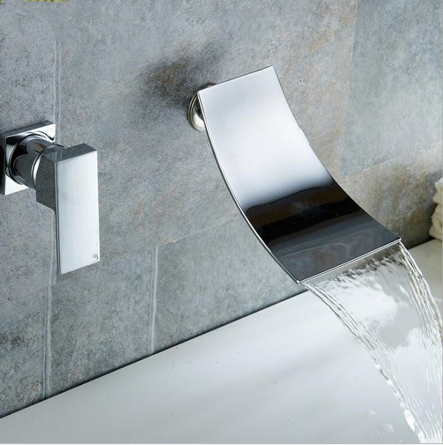 Modern Concealed Bathroom Wall Mounted Chrome Bath Shower Faucet Set ...