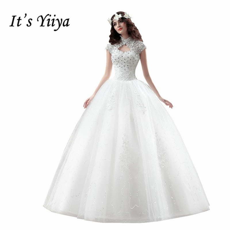 Cheap Wedding Dresses 2017 Lace Wedding Gowns Princess: It's YiiYa 2017 New Cheap White Wedding Gowns Frocks High