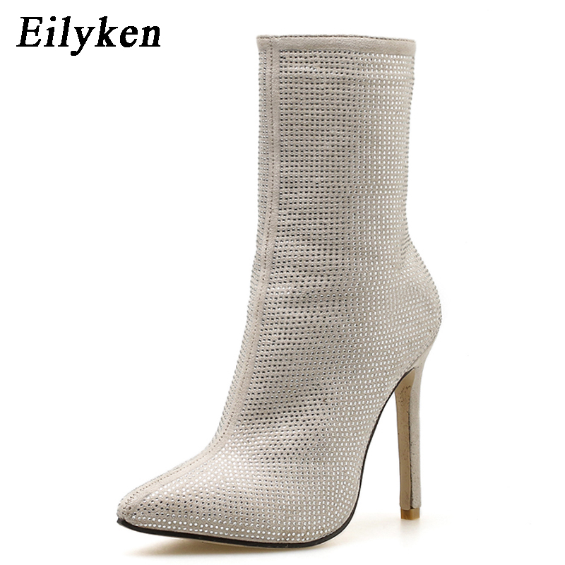 Image 4 - Eilyken Women  Ankle Boots Plus Size 35 42 Rhinestones High Heels Shoes Woman Zip Pointed Toe Sexy Motorcycle Boots For Females-in Ankle Boots from Shoes