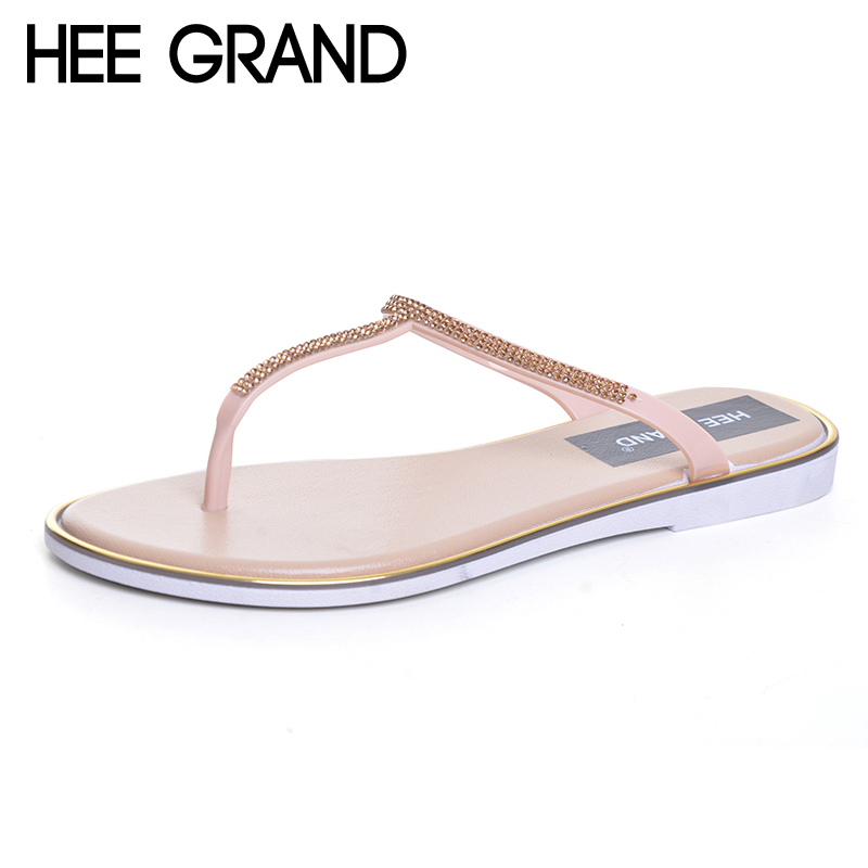 HEE GRAND 2017 Crystal Flip Flops Casual Summer Slides Beach Slip On Flats Platform Bling jelly Shoes Woman Slippers XWZ4438 hee grand summer gladiator sandals 2017 new platform flip flops flowers flats casual slip on shoes flat woman size 35 41 xwz3651
