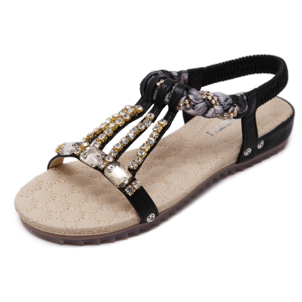 Bohemian Women's Sandals Gemstone Slippers Summer Women Beach Sandals Ladies Flat Sandals Shoes Women Zapatos Mujer 2