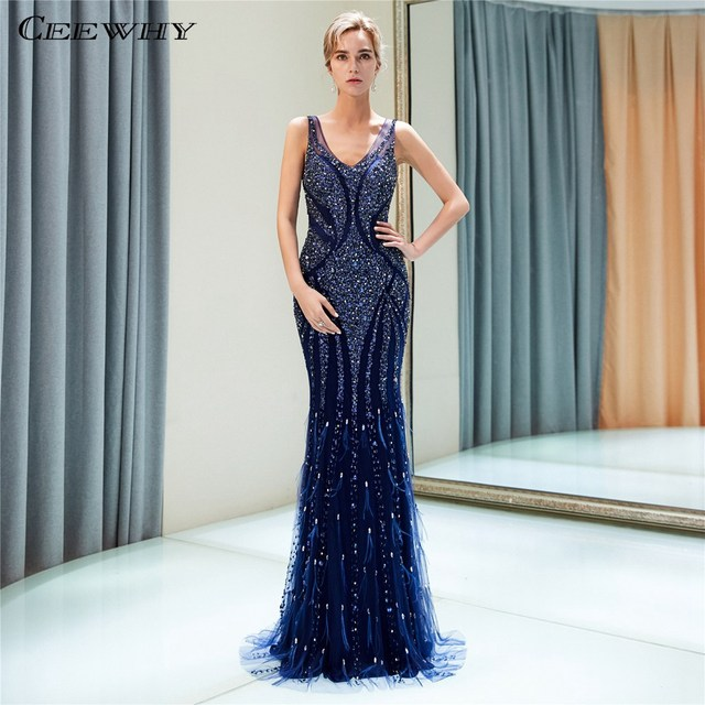 CEEWHY Real Pictures Handmade Luxury Evening Dresses Beaded Muslim  Abendkleider Dubai Mermaid Evening Dress Robe de Soiree 6952a0a174be