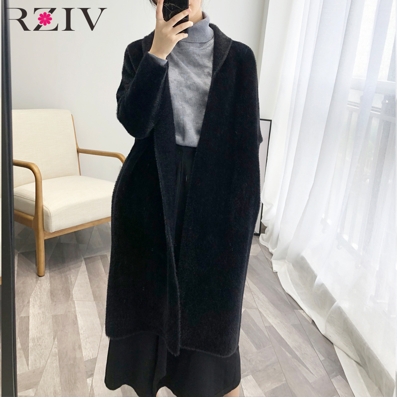 RZIV High quality fall clothing for women long coat jacket and soft knitted coat lady coat
