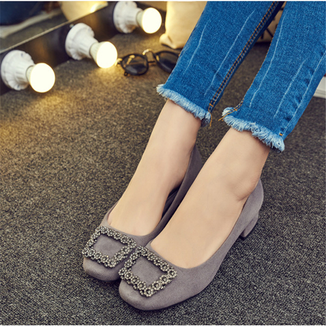 Female leisure square heel shoes 2016 new spring fashion sexy shoes with diamond Vocational beautiful wedding shoes