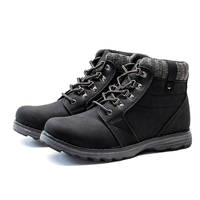 2017 Autumn And Winter Cow Leather Plush Men Work Boots Lace Up Mens Fashion Model Causal