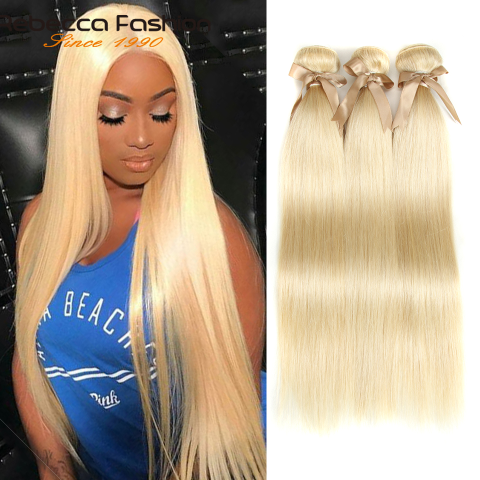 Rebecca Brazilian Straight Hair 613 Honey Blonde Bundles 1/3/4 Bundles Remy Hair Weaving Human Hair Bundles 10-26 Inch