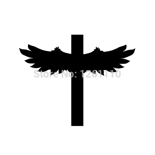 50 pcs lot Religious Decal Cross with Wings Sticker Religion For Laptop SUV Car Truck Window
