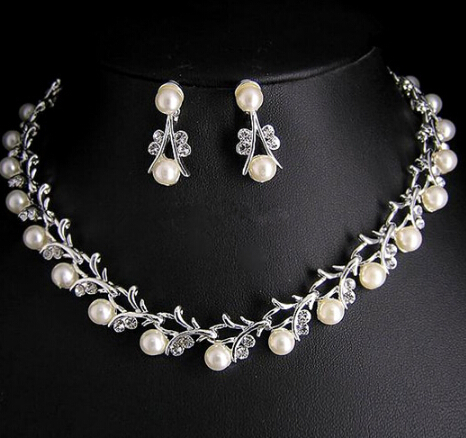 Luxury Imitation Pearl Choker Necklace Earrings Silver Plated Clear Crystal Bridal Jewelry Sets For Wedding Accessories 1set In From