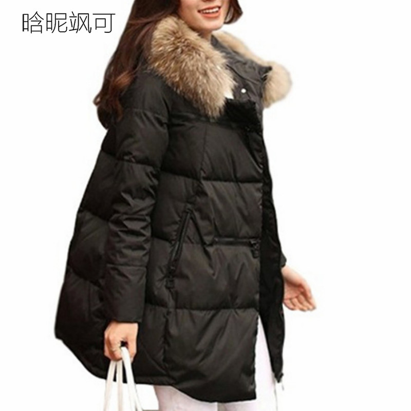 Women Parkas Long Thick Warm Jacket Hooded Fur Zipper Yellow Elegant Ladies Coats Solid Female clothing Parka Femme Plus Size