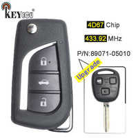 KEYECU ASK 433.92MHz 4D67 Chip 89071-05010 Upgraded Flip Folding 3 Button Remote Car Key Fob TOY43 Blade for for Toyota Avensis