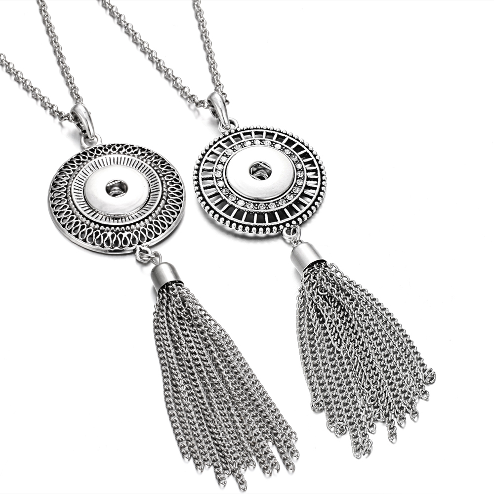 New Snap Jewelry Long Tassel Snap Button Necklace Vintage Metal Long Chain Necklace Fit 18mm 20mm Snap Buttons