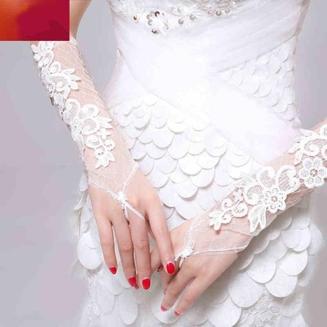 Don está Noiva De Um Tamanho Acessórios 2017 Luvas de Casamento De Noiva Sem Dedos Luvas de Renda Branca