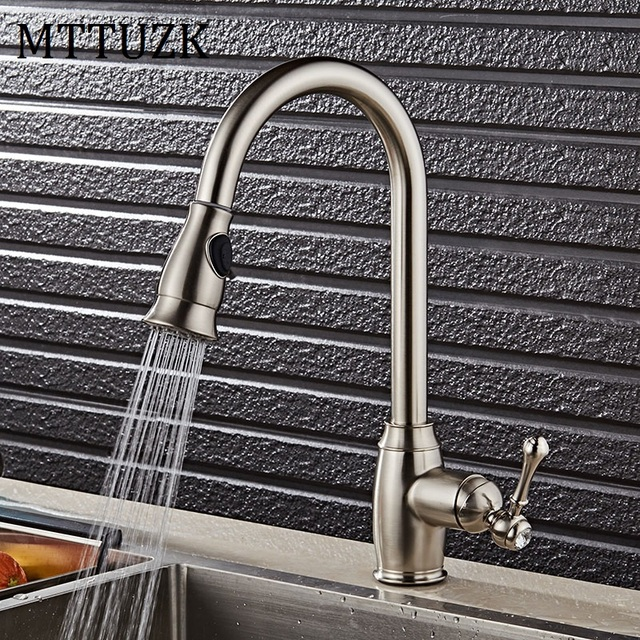 Mttuzk Luxury Pull Out Kitchen Faucet Solid Brass Brushed Swivel