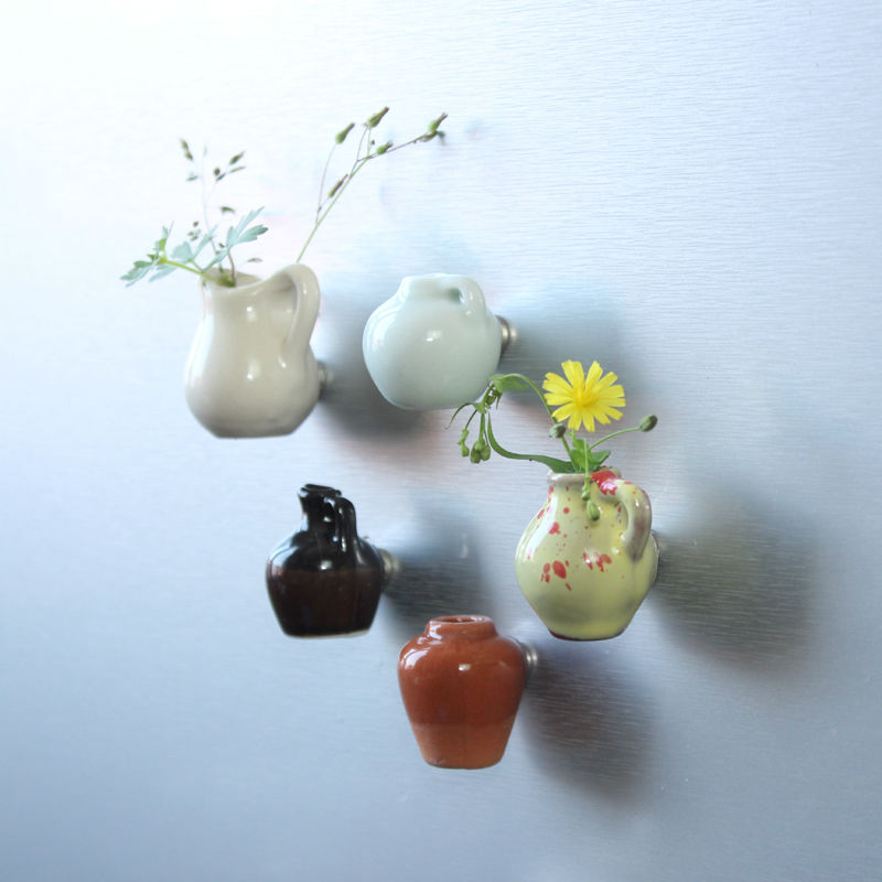 Free shipping Flower Ceramics Mini Vase Fridge Magnet Floriculture DIY toys car home kitchen office decoration party favor gifts