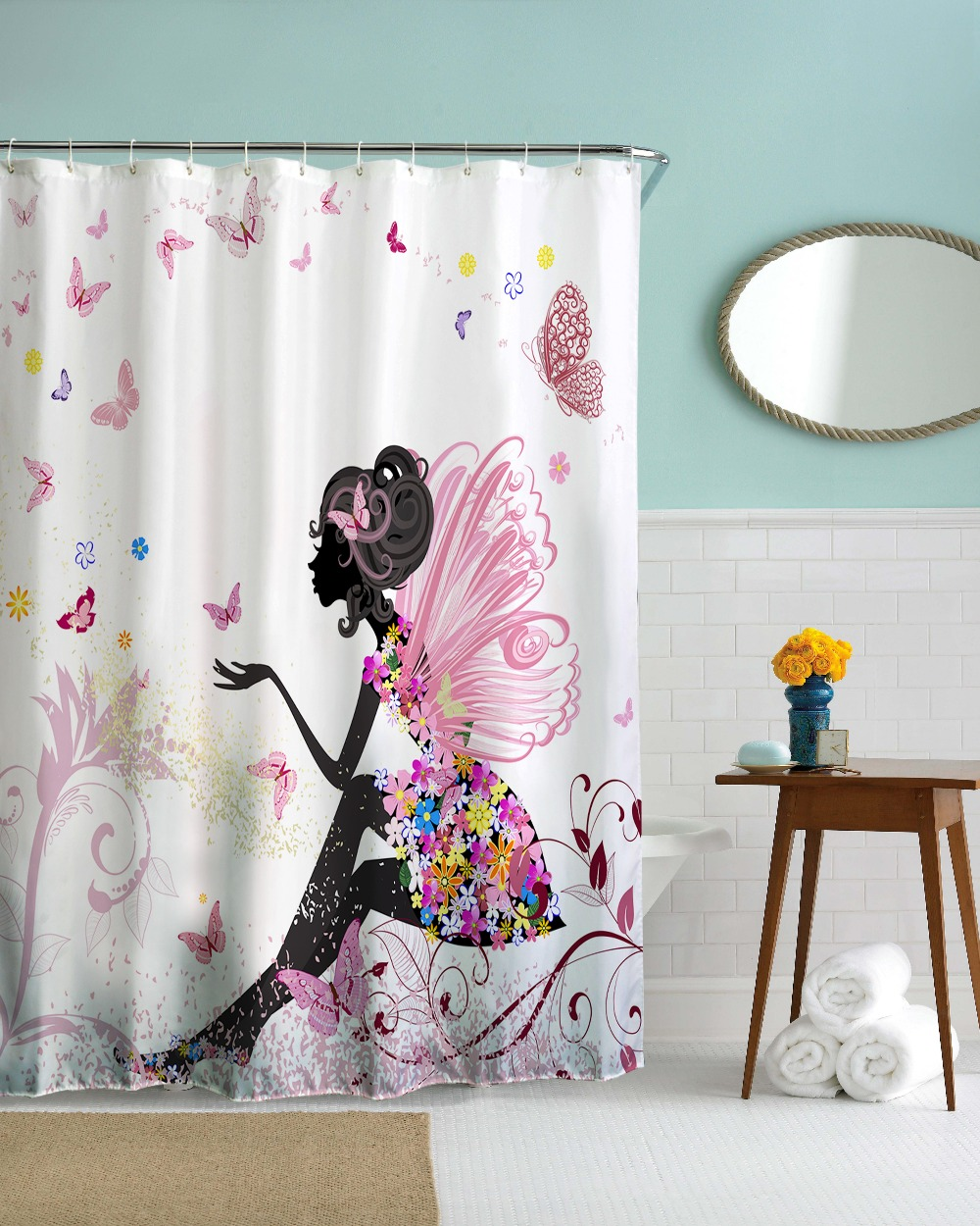 Fairy shower curtain - 3d Creative Butterfly Girl Fairy Waterproof Shower Curtain Polyester Fabric Bathroom Decoration Bath Curtains 180x180cm