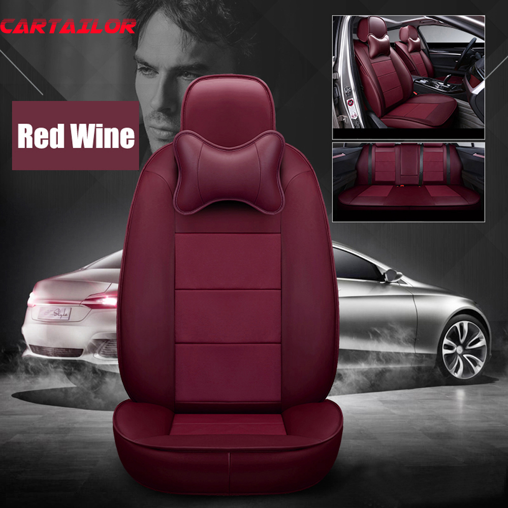 CARTAILOR Cowhide Leather Car Seat Cover Protector Front