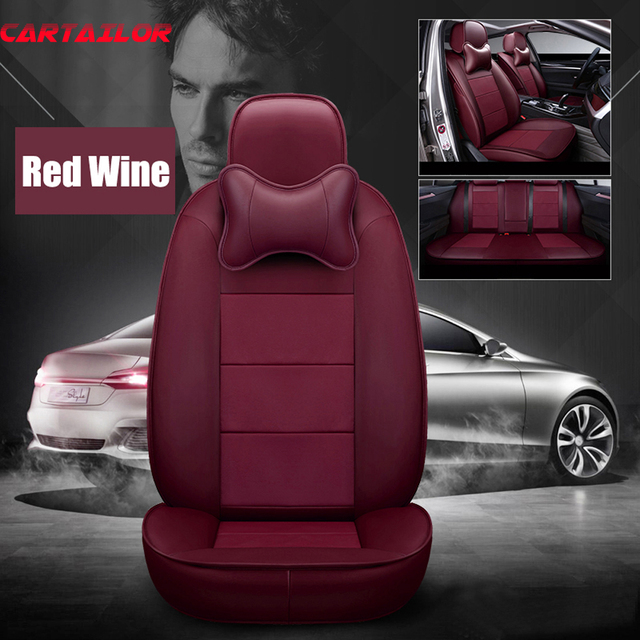 CARTAILOR Cowhide Leather Car Seat Cover Protector Front & Rear Complete for Jeep Wrangler 2007 2008 2012 2014 2016 Seats Covers