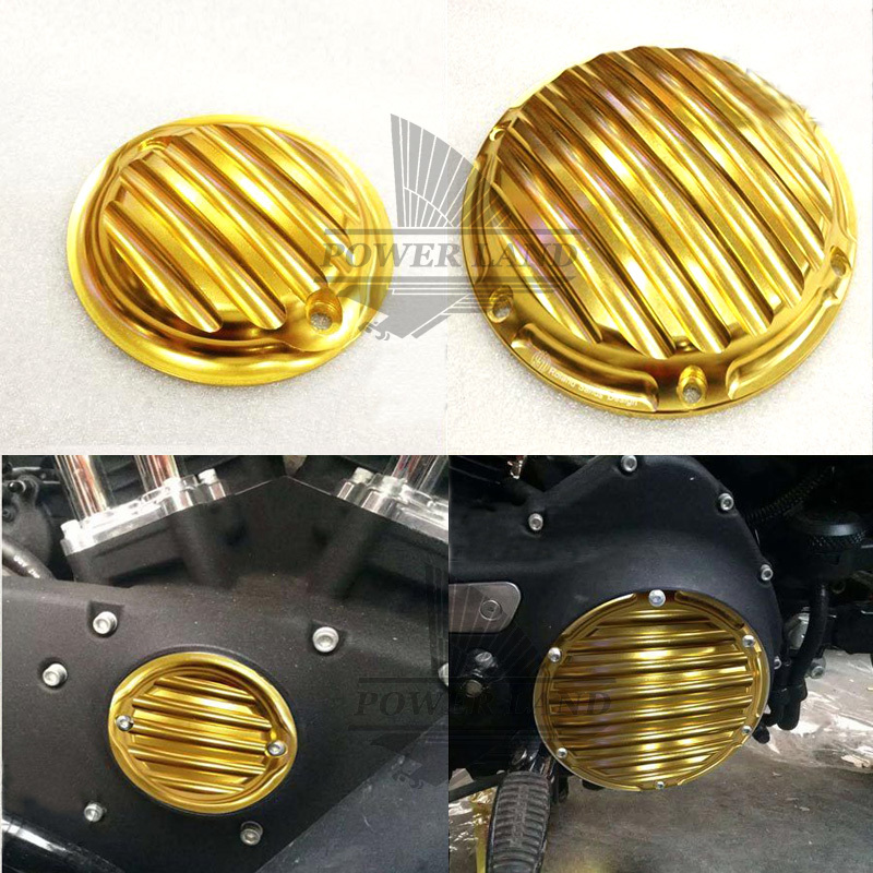 New Golden Aluminum Deep Contrast Cut CNC Nostalgia Derby Timing Timer Cover For Harley Sportster XL 1200 883 Custom 2004-UP mtsooning timing cover and 1 derby cover for harley davidson xlh 883 sportster 1986 2004 xl 883 sportster custom 1998 2008 883l