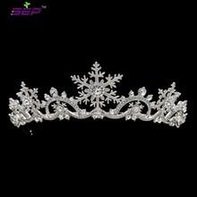 Pha Lê Áo bất động Phụ Nữ Công Chúa Bông Tuyết Tiara Thái Bridal Cưới Giáng Sinh Tóc Trang Sức Phụ Kiện SHA8756
