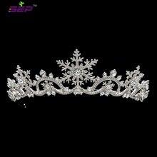 จริงคริสตัลออสเตรีย Princess Snowflake Tiara มงกุฎแต่งงานเจ้าสาวคริสต์มาสเครื่องประดับผมอุปกรณ์เสริม SHA8756