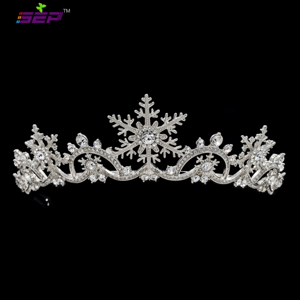 Real Austrian Crystals Women Princess Snowflake Tiara Crown Bridal Wedding Christmas Hair Jewelry Accessories Sha8756 In From