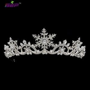 Image 1 - Real Austrian Crystals Women Princess Snowflake Tiara Crown Bridal Wedding Christmas Hair Jewelry Accessories SHA8756