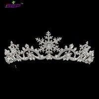 Real Austrian Crystals Women Princess Snowflake Tiara Crown Bridal Wedding Christmas Hair Jewelry Accessories SHA8756