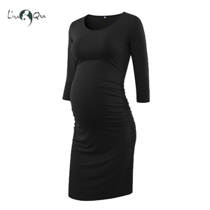 Image 4 - Pack of 3pcs Side Ruched Maternity Dresses 3 quarter Sleeve Bodycon Pregnancy Dress Wrap Maternity Dresses for Photo Shoot