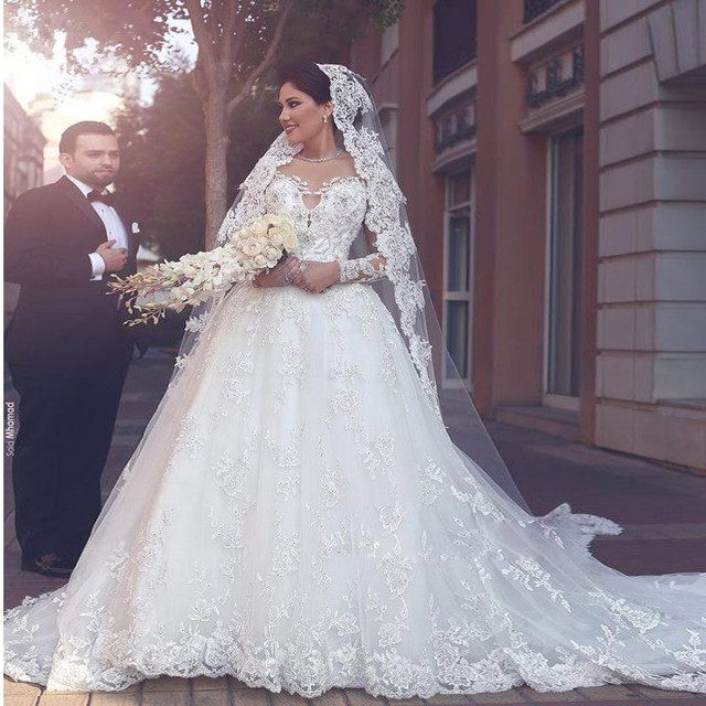 Robe de Maria 2017 Saudi Arabia Ball Gown Wedding Dresses Sheer Long ...