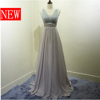 gray mother of the bride gowns floor length champagne long bridesmaid dress a line formal dresses 2018 free shipping B2822