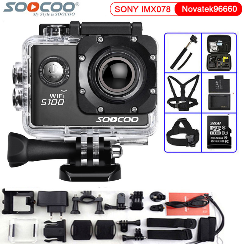 SOOCOO Action Camera S100 4K WiFi NTK96660 Waterproof 30M Built-in Gyro with GPS Extension(GPS Model not include) Sport Camera soocoo c30 sports action camera wifi 4k gyro 2 0 lcd ntk96660 30m waterproof adjustable viewing angles