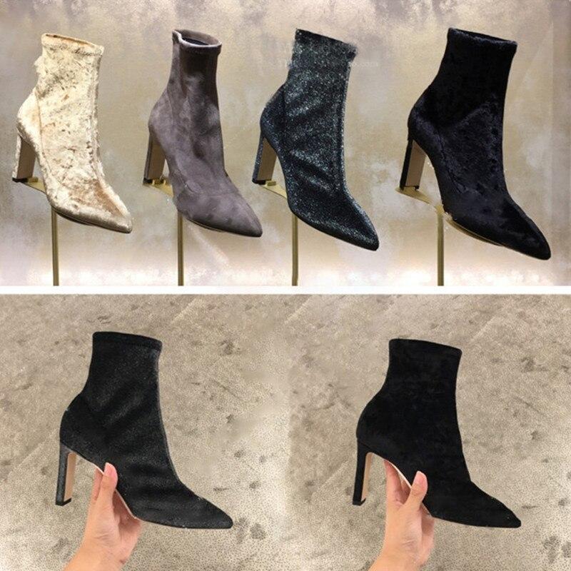 Automne Slip Pic Carrés Talons as 2018 Velours Pointu Bottes Cheville Pic As Femme Stretch Classique Bout Haute Sur Hot Printemps Chaussures Conception HEw87q