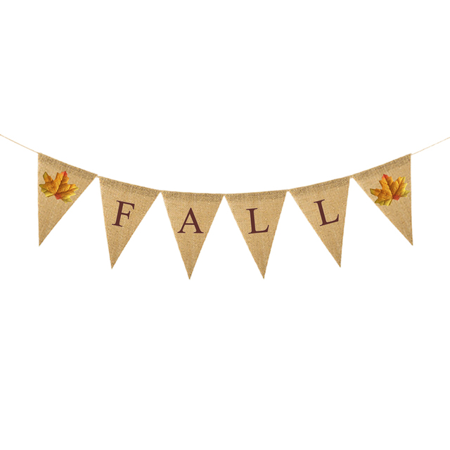 1 Pc Bunting Banner Reusable Linen Burgee Fall Letters Pull Flag Burlap Banner For Thanksgiving Home