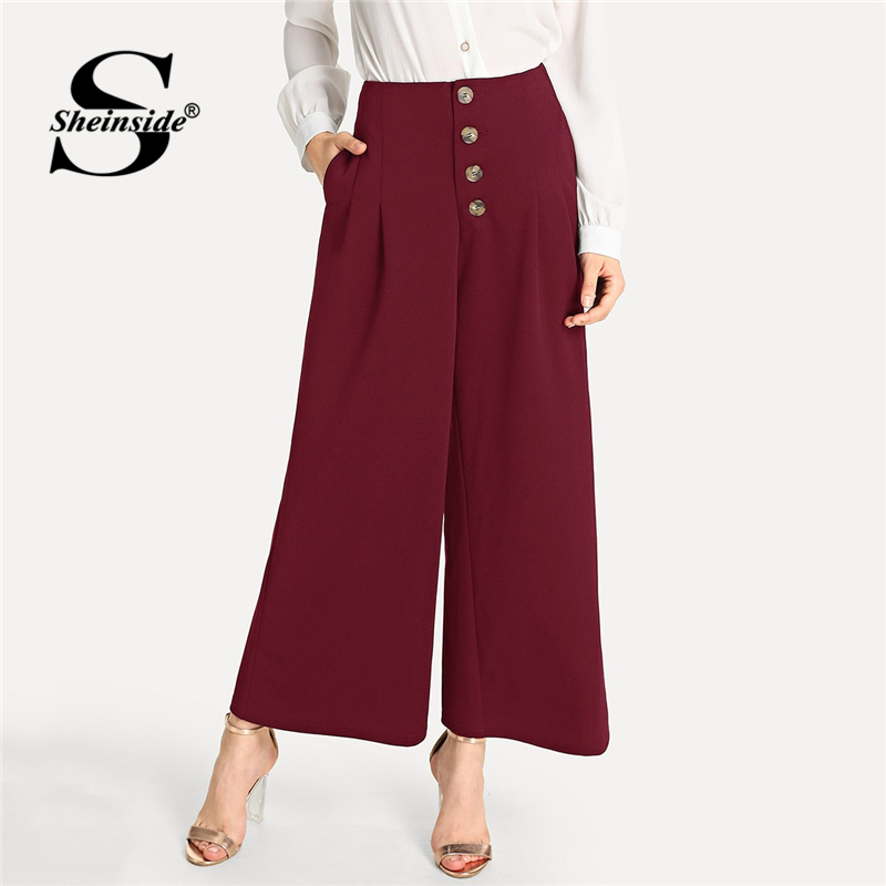 Sheinside Burgundy Single Breasted   Pants   Women 2019 Spring Solid Mid Waist   Pants   Office Ladies Elegant Workwear   Wide     Leg     Pants