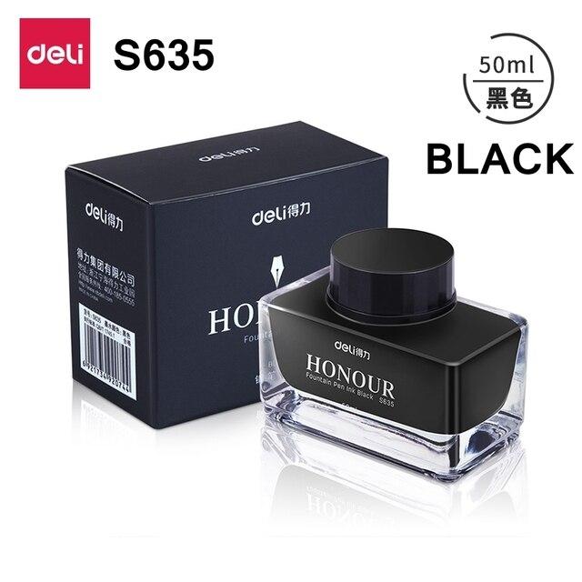 Deli s636 s635 Fountain pen ink 30ml 50ml bottle Black blue Pen ink blueblack ink wholesale 3